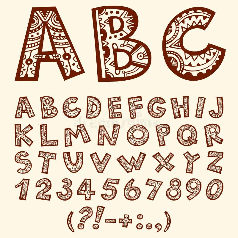 Hand gezeichnetes folklorisches dekoratives Alphabet des Gekritzels mit Zahlen lizenzfreie stockbilder