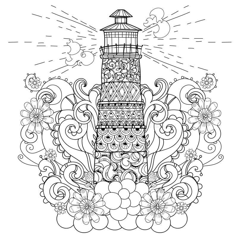 Hand gezeichnetes Gekritzelentwurfs-Leuchtturm boho vektor abbildung