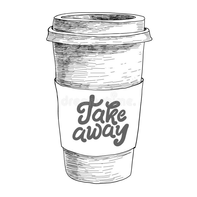 Hand gezeichnetes Gekritzelskizzenweinlesepapier-Tasse Kaffee Mitnehmermenü für Restaurant, Café, Bar, Café lizenzfreie abbildung