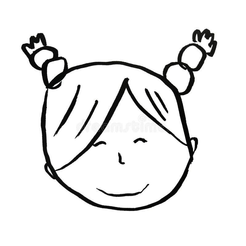 Hand gezeichnetes Gesichtsmädchen stockfoto