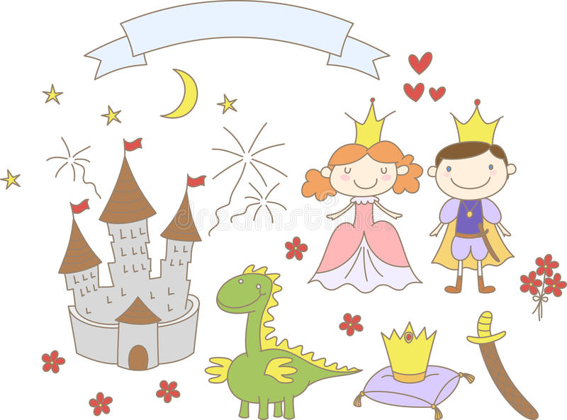 Hand gezeichnetes Königreich stellte mit Prinz-, Prinzessin-, Drache-, Schloss- und Bandfahne ein vektor abbildung