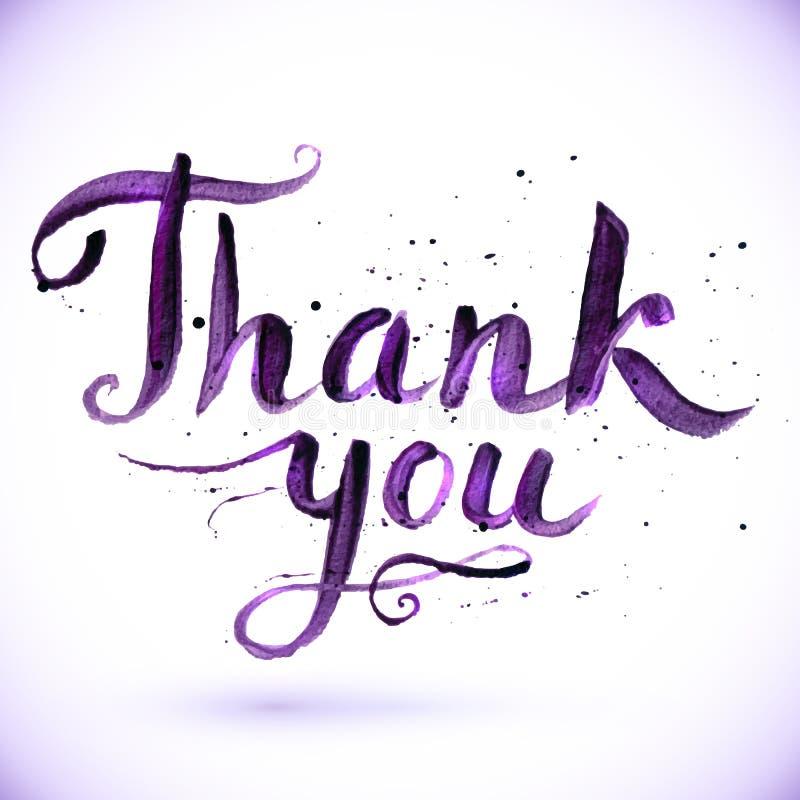 Hand gezeichnetes kalligraphisches Design für Zeichen danken Ihnen stock abbildung