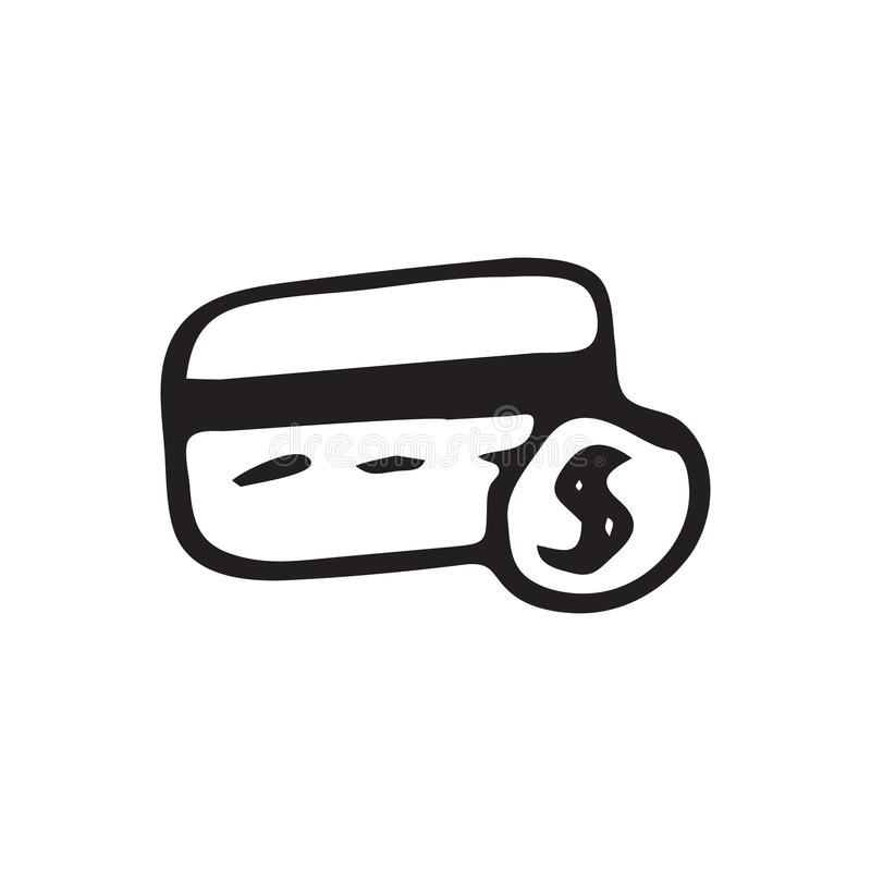 Hand gezeichnetes Kreditkartegekritzel Skizzendollarikone Dekorations-EL stock abbildung