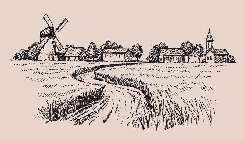 Hand gezeichnetes Land stock abbildung