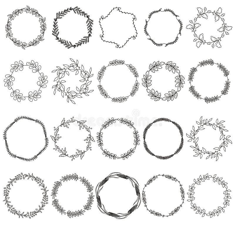 Hand gezeichnetes lineares Blumen, Lorbeerkränze vektor abbildung