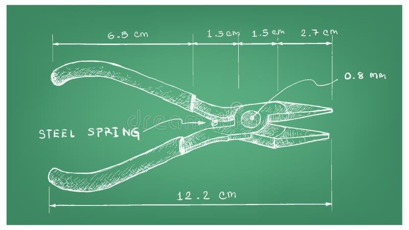 Hand gezeichnetes Maß von Kombinations-Zangen stock abbildung