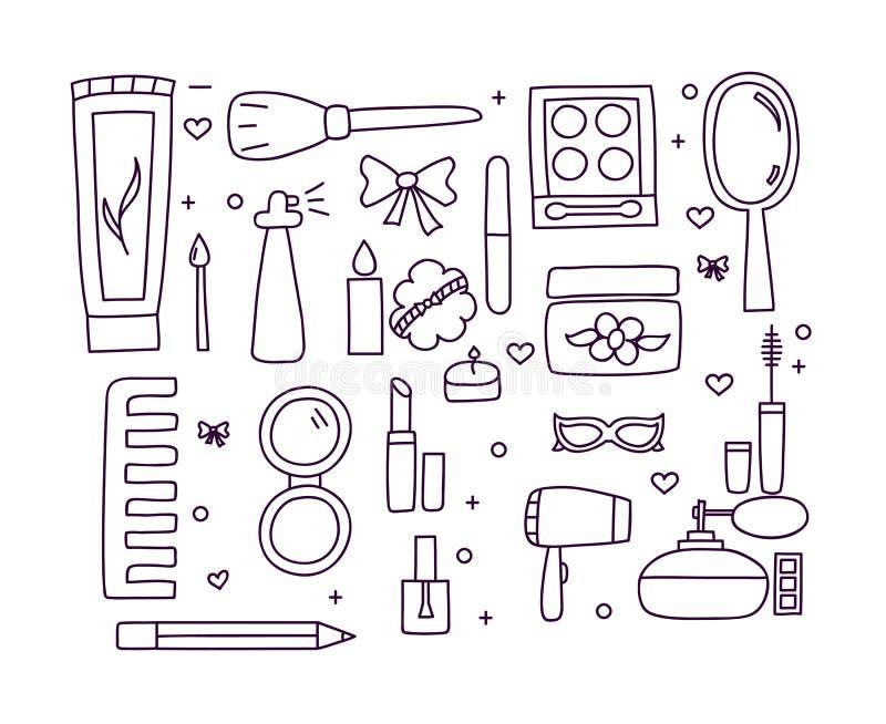 Download Hand Gezeichnetes Make-up Und Kosmetikfarbgekritzel Stock Abbildung - Illustration von bogen, gekritzel: 90225245