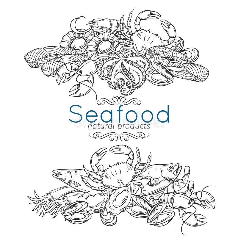Hand gezeichnetes Meeresfrüchtedesign vektor abbildung
