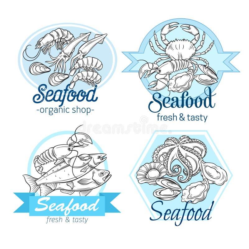 Hand gezeichnetes Meeresfrüchtedesign stock abbildung