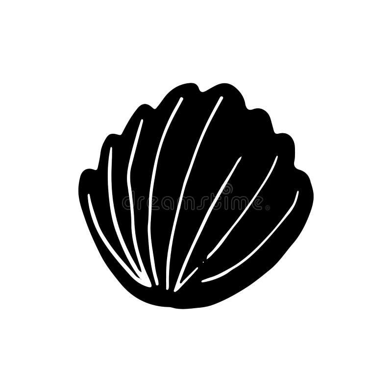 Hand gezeichnetes Muschelgekritzel Skizzenartikone Marineunterwasserbetriebsunkr?uter und -tiere Getrennt auf wei?em Hintergrund  stock abbildung