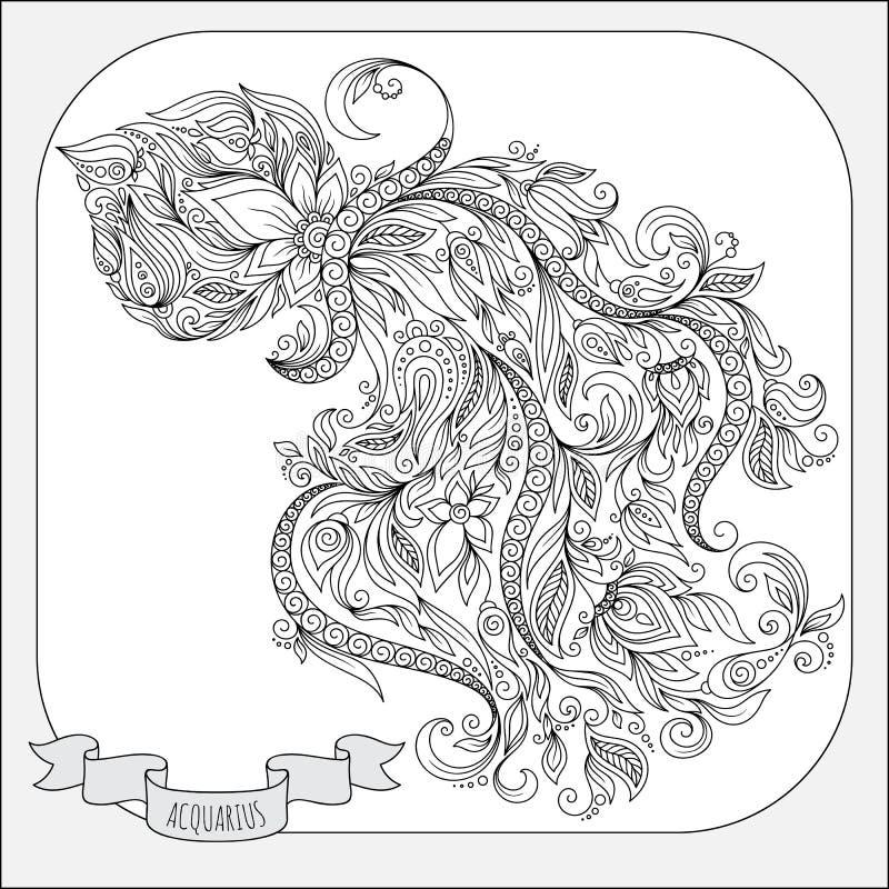 Hand gezeichnetes Muster für Malbuchtierkreis Wassermann lizenzfreie abbildung