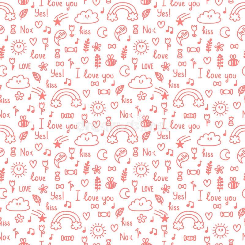 Hand gezeichnetes nahtloses Muster auf Liebesthema Design für Valentinsgruß und Hochzeit Netter Hintergrund Gekritzel, Skizze vektor abbildung