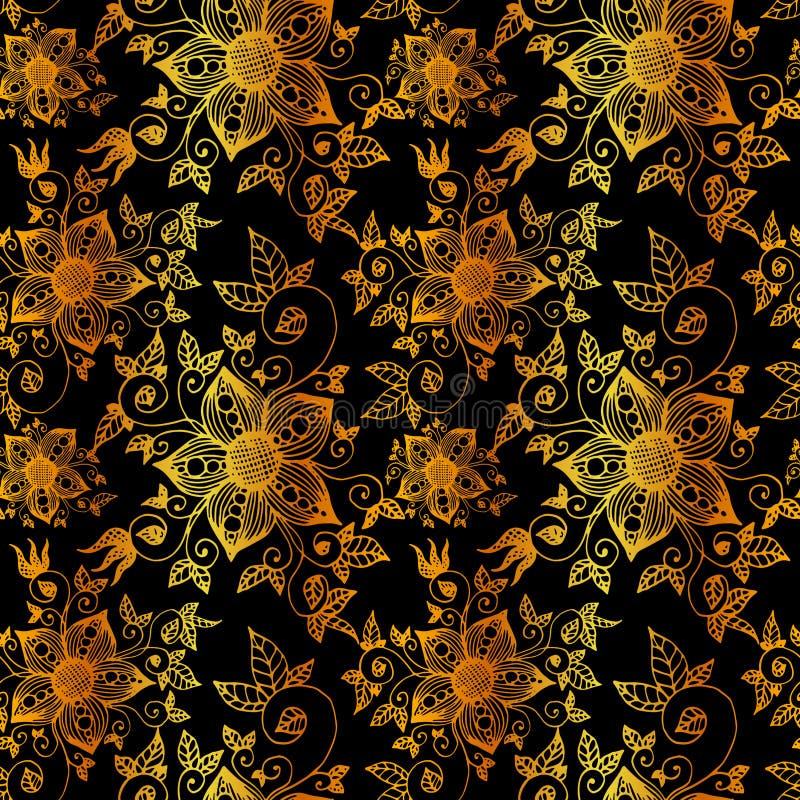 Hand gezeichnetes nahtloses Muster der Blume Auch im corel abgehobenen Betrag lizenzfreie stockfotografie