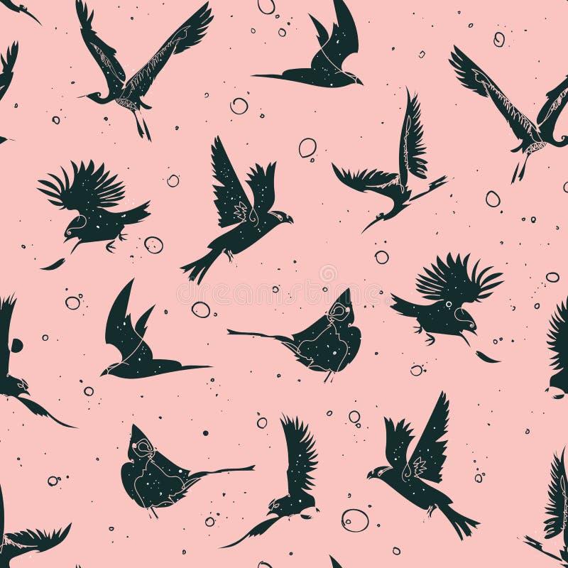 Hand gezeichnetes nahtloses Muster der künstlerischen Vögel der einzelnen Zeile stock abbildung