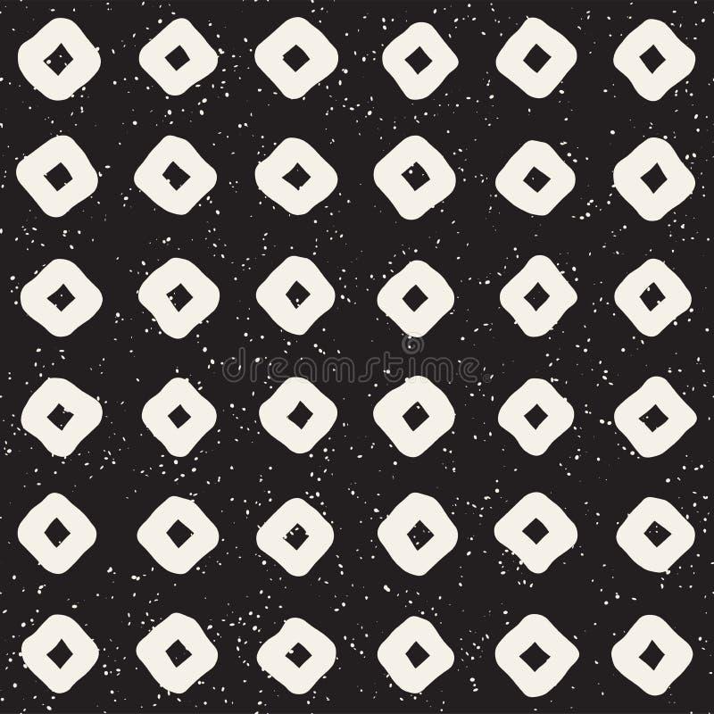 Hand gezeichnetes nahtloses Muster der Schwarzweiss-Tintenzusammenfassung stilvolle Beschaffenheit des Vektors Einfarbige geometr vektor abbildung