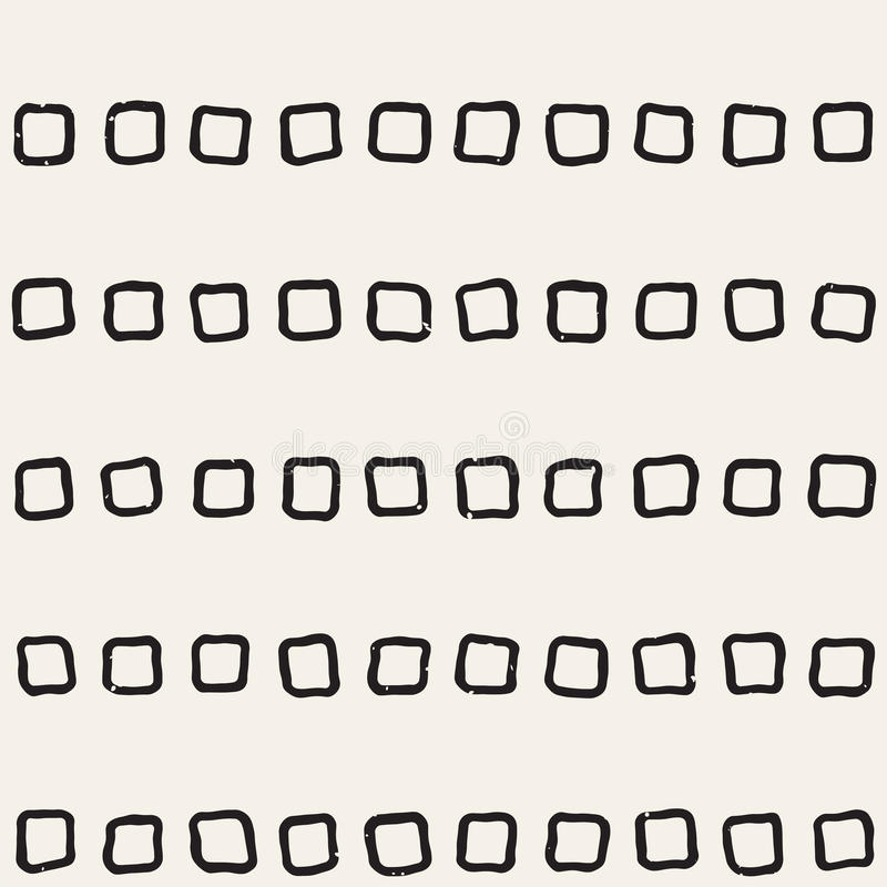 Hand gezeichnetes nahtloses Muster der Schwarzweiss-Tintenzusammenfassung Vektorschmutzbeschaffenheit Einfarbige geometrische sha stock abbildung
