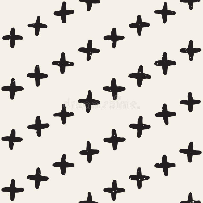 Hand gezeichnetes nahtloses Muster der Schwarzweiss-Tintenzusammenfassung Vektorschmutzbeschaffenheit Einfarbiger geometrischer F stock abbildung