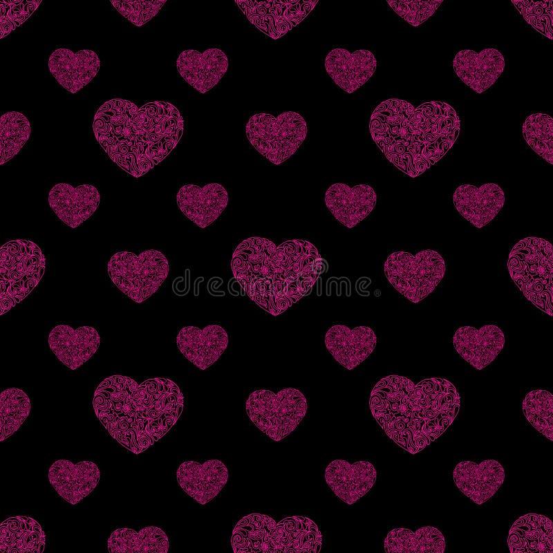 Hand gezeichnetes nahtloses Muster des Herzens Auch im corel abgehobenen Betrag stockfotos