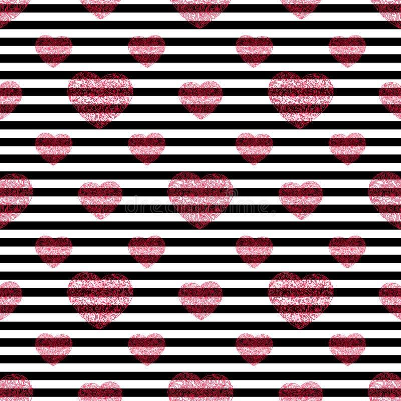 Hand gezeichnetes nahtloses Muster des Herzens Gestreifte Vektorillustration lizenzfreie stockbilder