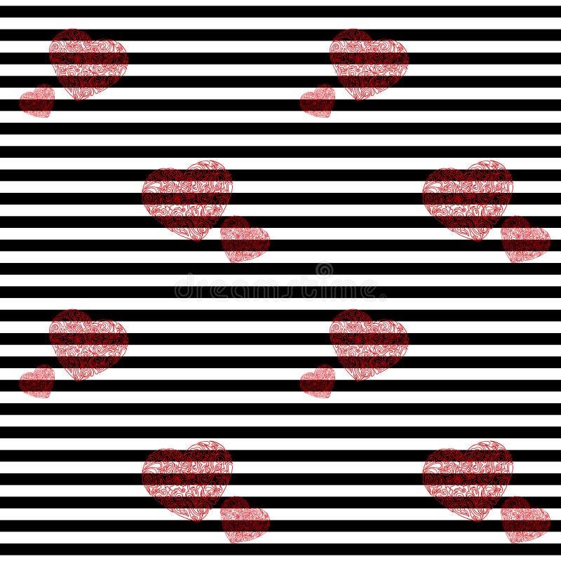Hand gezeichnetes nahtloses Muster des Herzens Gestreifte Vektorillustration lizenzfreies stockbild