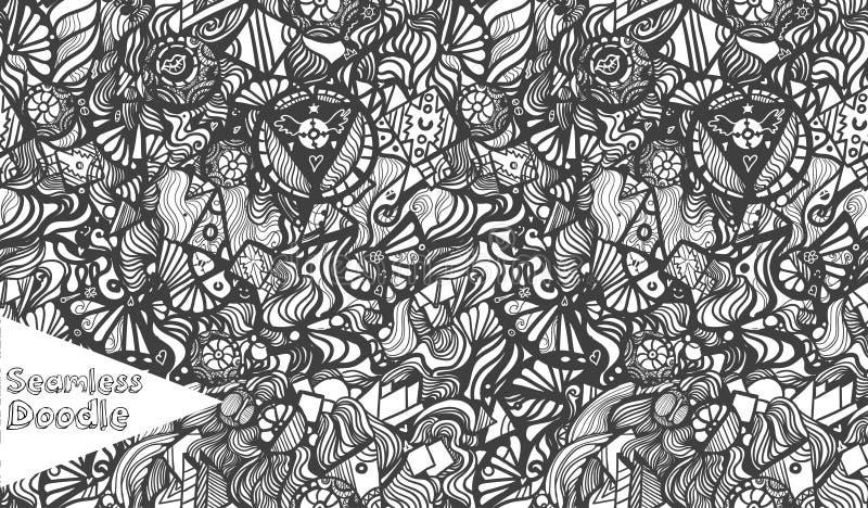 Hand gezeichnetes nahtloses Muster des Karikaturphantasie-Gekritzels lizenzfreie abbildung