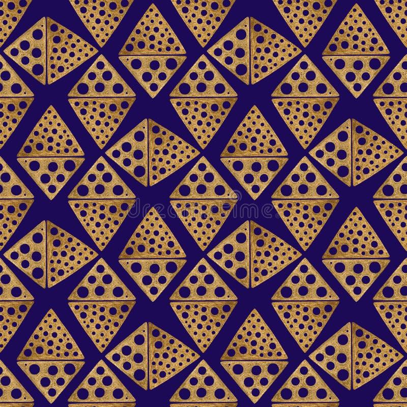 Hand gezeichnetes nahtloses Muster Goldethnische Verzierung, abstrakter geometrischer Hintergrund Goldene Rautenillustration lizenzfreie abbildung