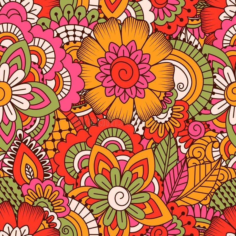 Hand gezeichnetes nahtloses muster mit florenelementen - Tapete asiatisch ...