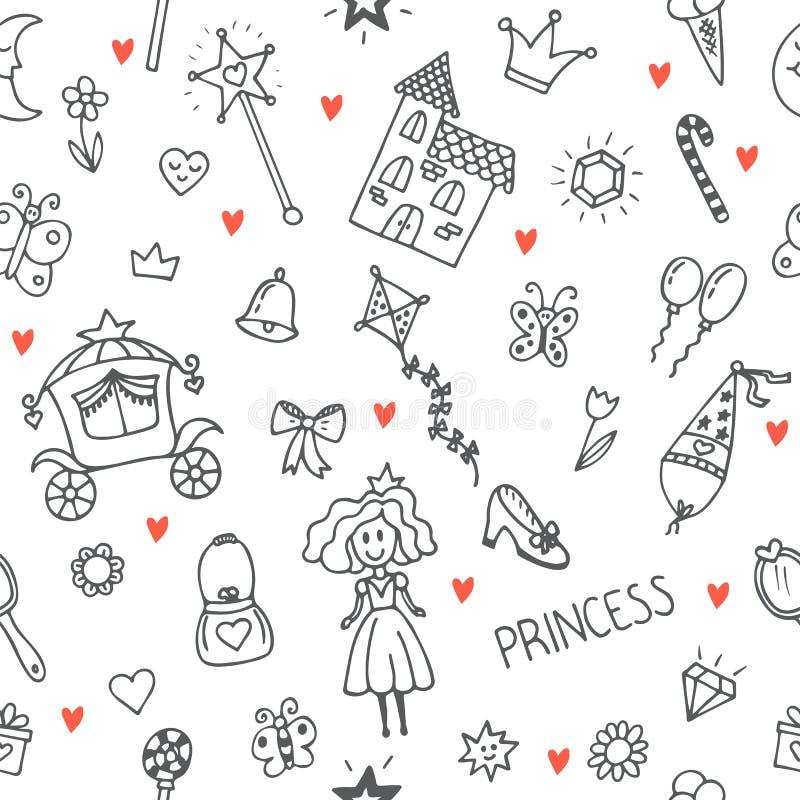 Hand gezeichnetes nahtloses Muster mit Prinzessinmädchengekritzel-Design ele vektor abbildung