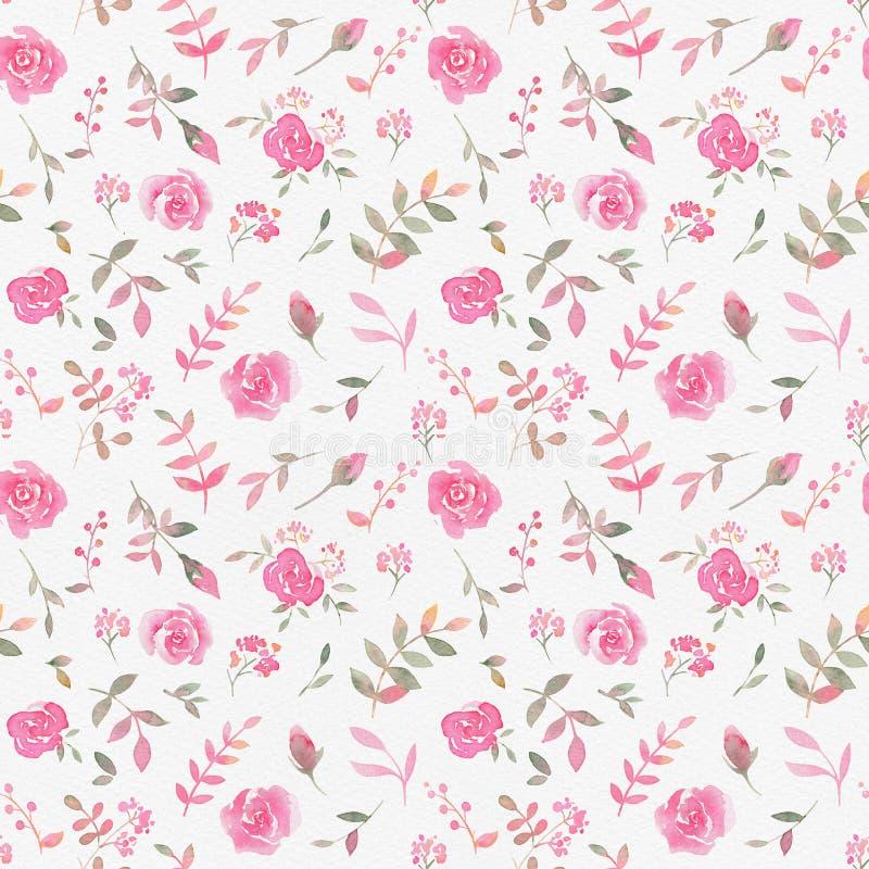 Hand gezeichnetes nahtloses Muster mit rosafarbenen Blumen des Aquarells vektor abbildung