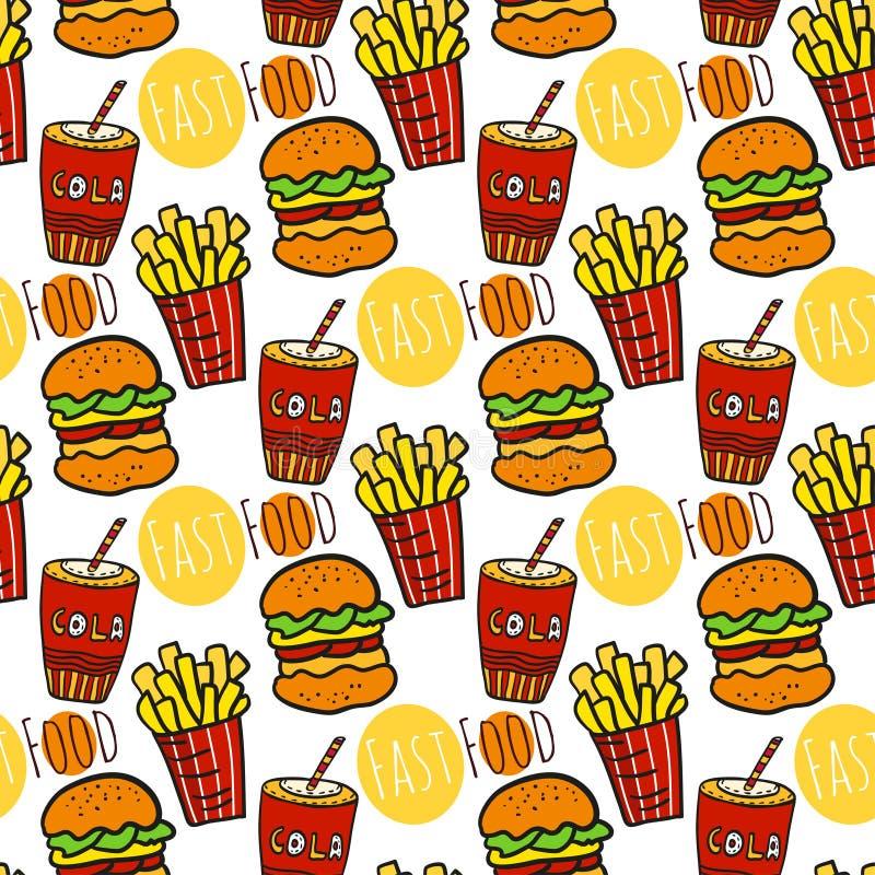 Hand gezeichnetes nahtloses Muster mit Schnellimbiß Gekritzelstraßenlebensmittel Brät Kartoffel, Kolabaum und Burgerhintergrund stock abbildung