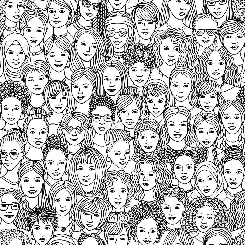 Hand gezeichnetes nahtloses Muster von verschiedenen Frauen vektor abbildung
