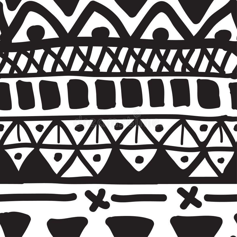 Hand gezeichnetes nahtloses Schwarzweiss-Muster stock abbildung