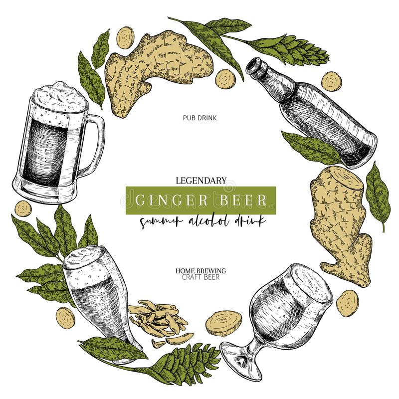 Hand gezeichnetes Oktoberfest-Kneipenplakat Ginger Ale-Bier Vector Glas, Flasche, die Ingwerwurzel, geschnitten, Blume und Blätte vektor abbildung
