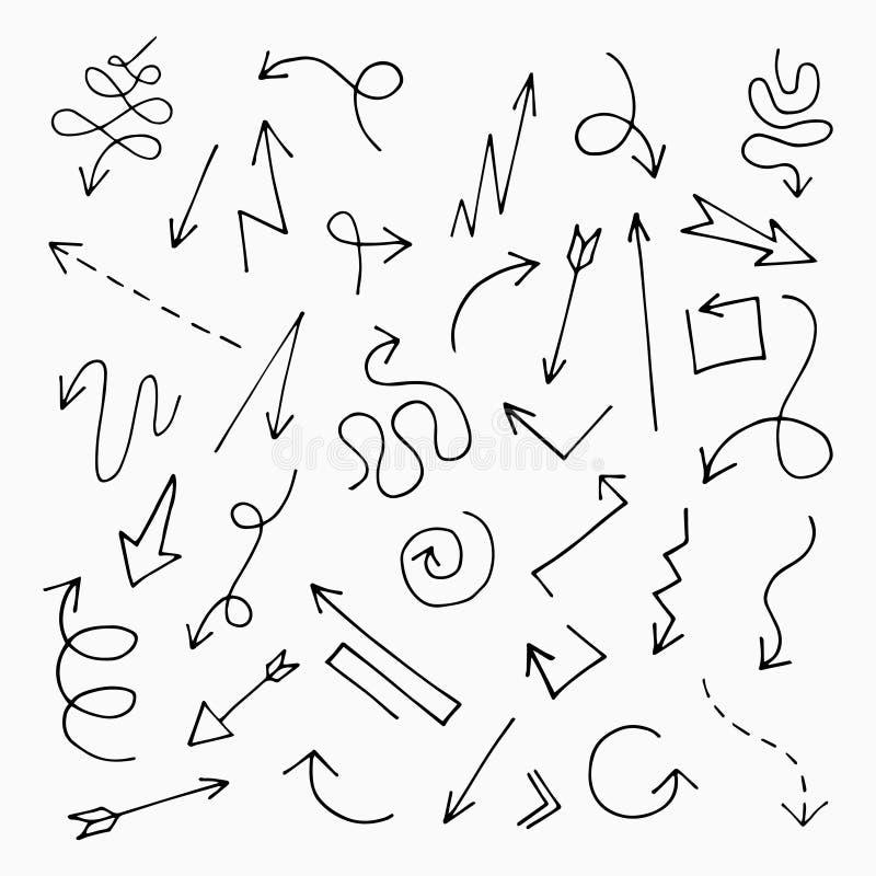 Hand gezeichnetes Pfeilset vektor abbildung