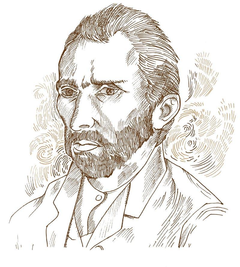Hand gezeichnetes Porträt Vincent van Gogh lizenzfreie abbildung