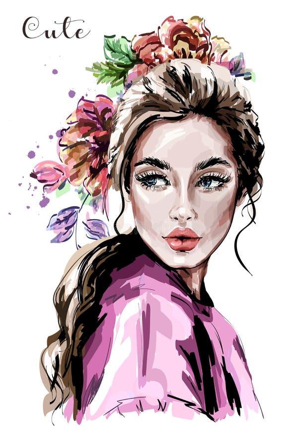Hand gezeichnetes schönes Porträt der jungen Frau Art und Weisefrau Nettes Mädchen mit Blumen lizenzfreie abbildung