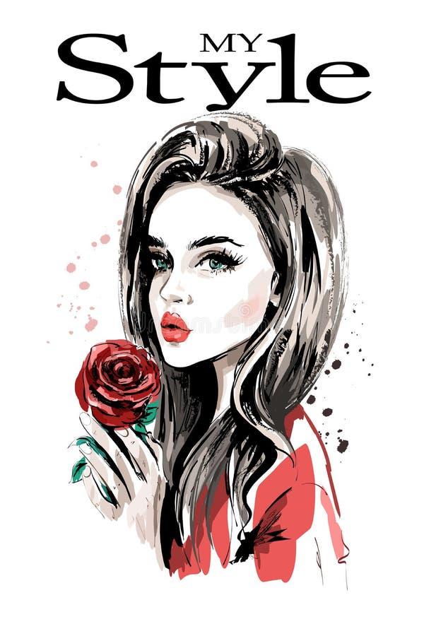 Hand gezeichnetes schönes Porträt der jungen Frau Modefrau mit Rotrose vektor abbildung