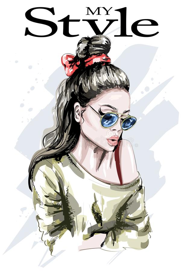 Hand gezeichnetes Schönheitsporträt Art und Weisefrau Stilvolle Dame mit dem langen Haar Nettes Mädchen in der Sonnenbrille mit M stock abbildung