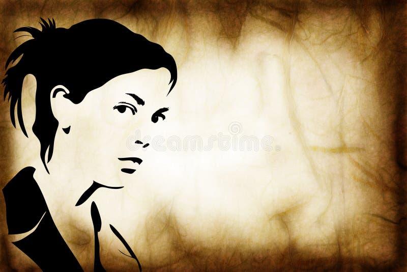 Hand gezeichnetes Schattenbild einer Frau lizenzfreie abbildung