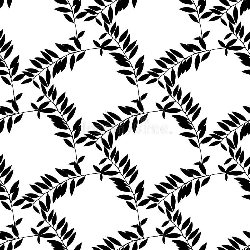 Hand gezeichnetes Schwarzweiss-Blatt silhouettiert nahtloses Muster lizenzfreie abbildung