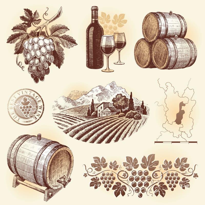 Hand gezeichnetes Set - Wein u. Weinproduktion stockbilder