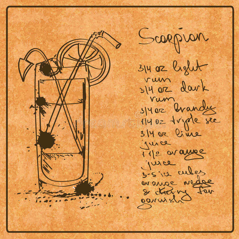 Hand gezeichnetes Skorpionscocktail vektor abbildung
