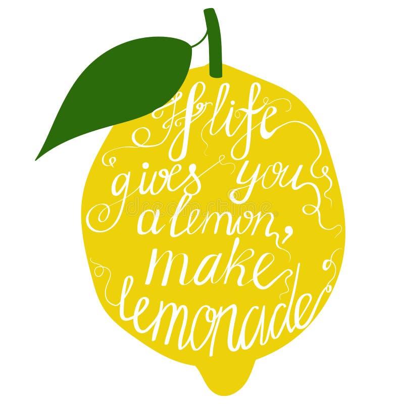 Hand gezeichnetes Typografieplakat Motivations-Zitat über das Leben stock abbildung