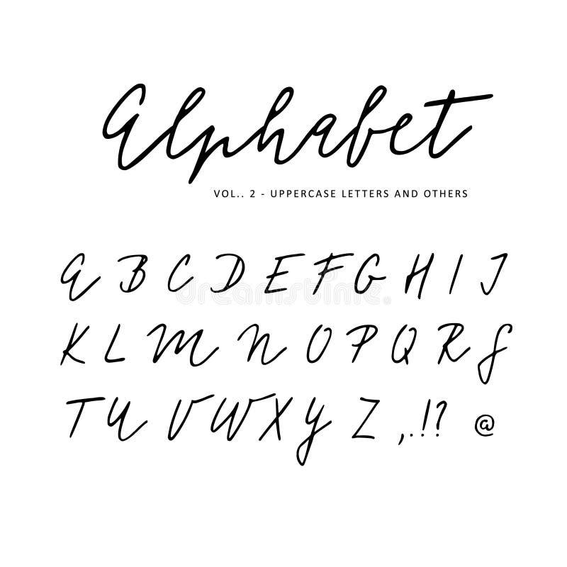 Hand gezeichnetes Vektoralphabet Unterschriftenskript-Bürstenguß Lokalisierte Briefe geschrieben mit Markierung, Tinte kalligraph stock abbildung