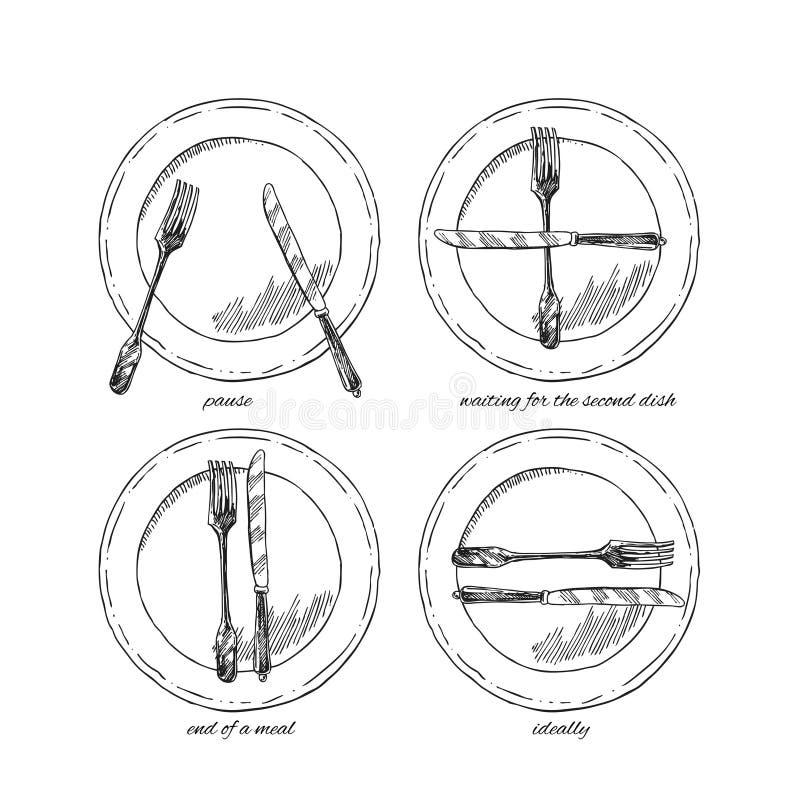 Hand gezeichnetes Vektorillustrationsgedeck vektor abbildung