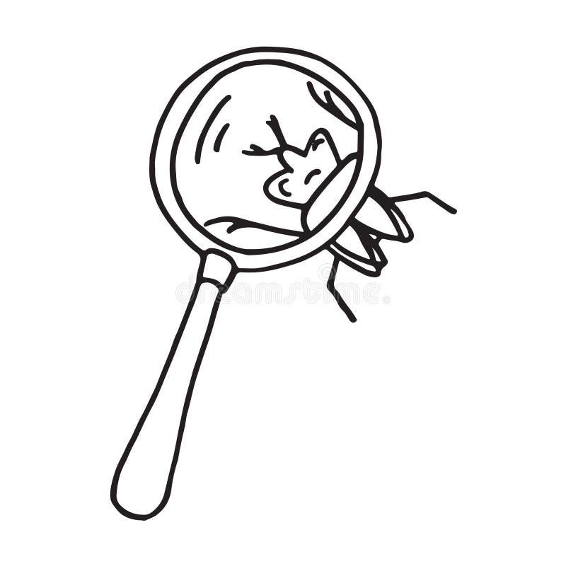Hand gezeichnetes Vergrößerungsglasgekritzel vektor abbildung