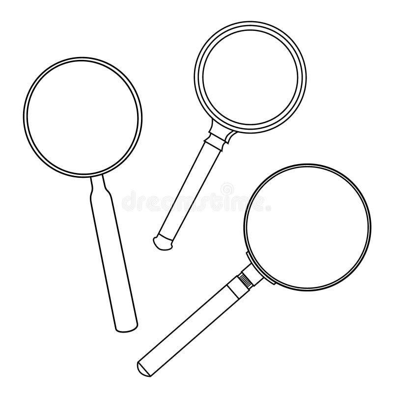 Hand gezeichnetes Vergrößerungsglasmuster lizenzfreie abbildung