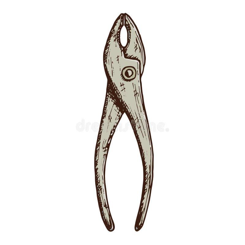Hand gezeichnetes Zangenwerkzeug lizenzfreie abbildung