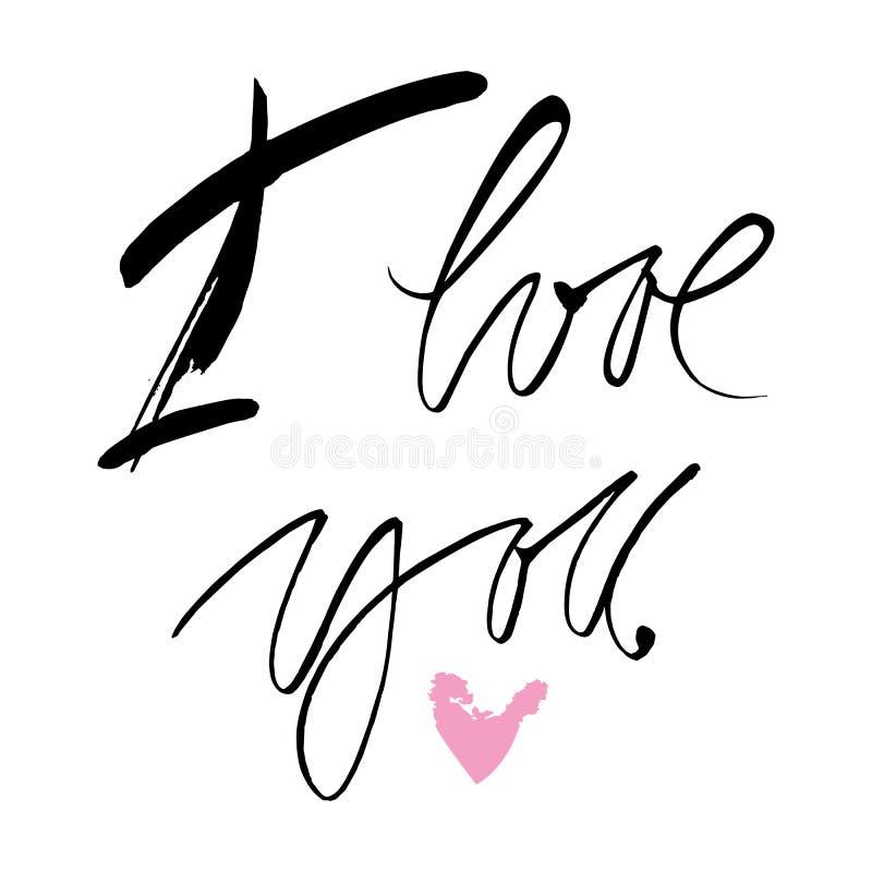 Hand gezeichnetes Zitat ` ich liebe dich ` stockbilder