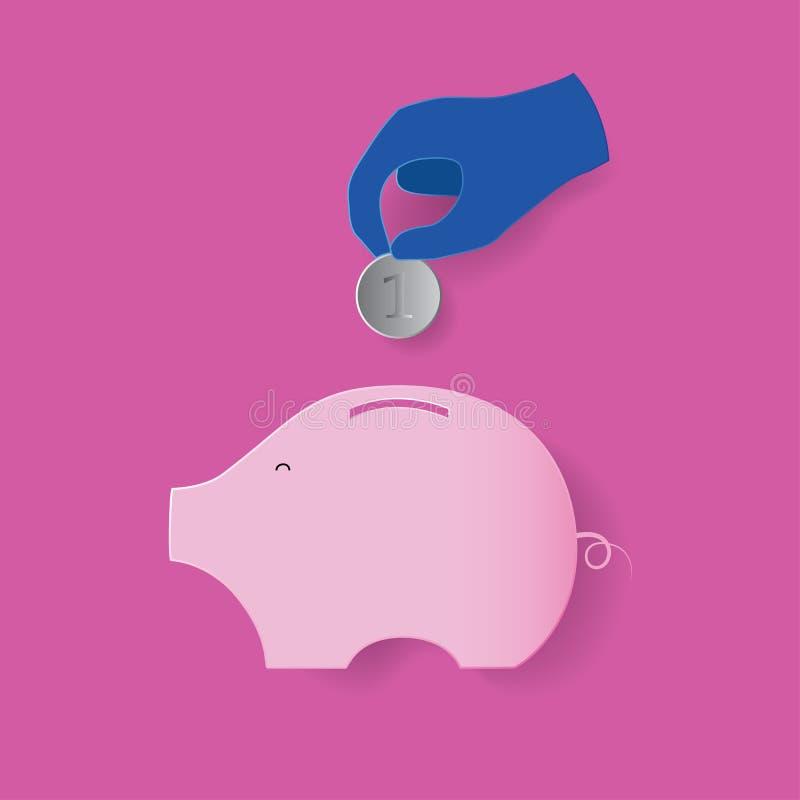 Hand gezet muntstuk in besparingsdoos royalty-vrije illustratie